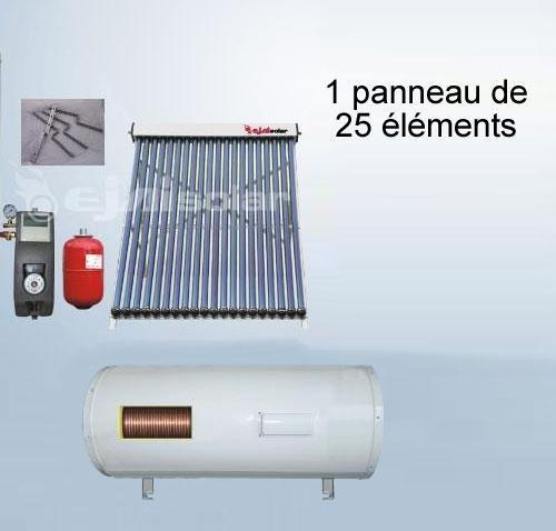 kit solaire 200 litres horizontal panneau 25 tubes station. Black Bedroom Furniture Sets. Home Design Ideas