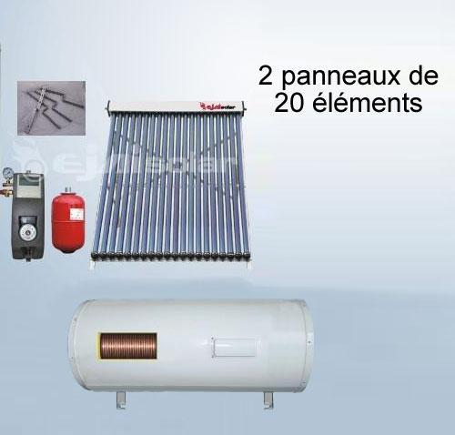 chauffe eau solaire kit 300 litres horizontal 2 pann 20 tubes station. Black Bedroom Furniture Sets. Home Design Ideas