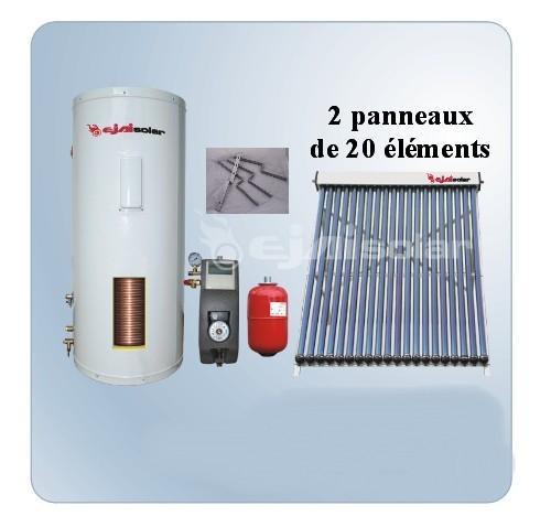 kit solaire 300 litres 2 panneaux 20 tubes station. Black Bedroom Furniture Sets. Home Design Ideas